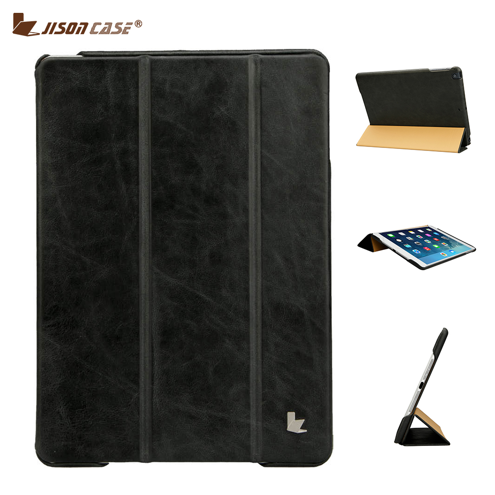 Jisoncase Leather Smart Cover for iPad Air 1 Air 2 9.7 2017 Case Cover Luxury Genuine Leather Case for iPad 5 6 9.7 inch Holster special genuine natural bamboo wood case cover skin protection for ipad air 5 mar15