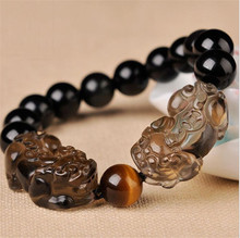 10mm Finance mo xiu hand chain to attract wealth and ward off evil ice species obsidian double head PI jewelry bracelet
