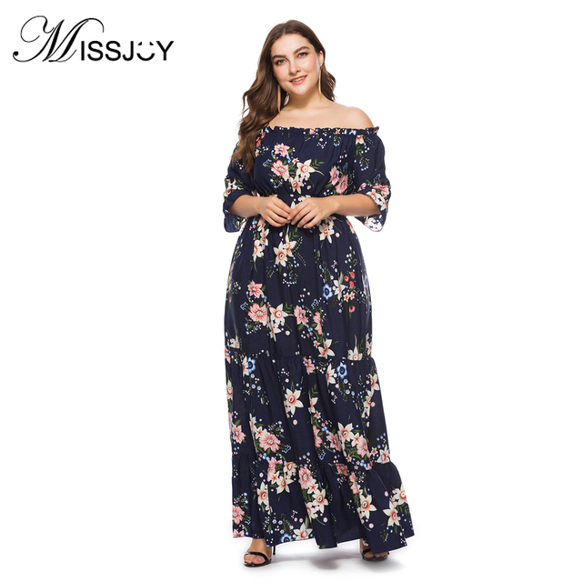 ab5f01198e MISSJOY XL-6XL Plus Size Dress Women Sexy Off shoulder Polka Dots Flower  Print bohemian Casual party Long Maxi dresses 2018 New