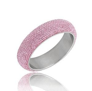 Image 3 - Brazaletes anchos de acero inoxidable para mujer, pulseras de mujer brillantes con cristal austriaco de CZ blanco, nuevos estilos 2019