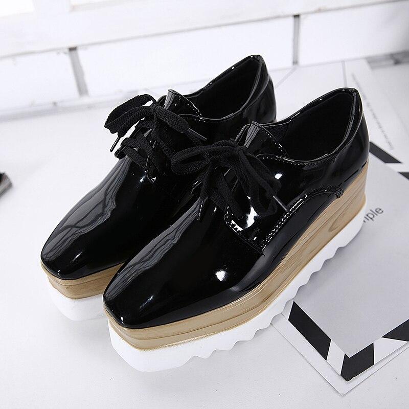 Printemps noir Femme Bout Beige Femmes up Noir Mode Automne Marque Dentelle Plate Miroir Chaussures forme Sneakers Oxford Carré Pompes O8XpU