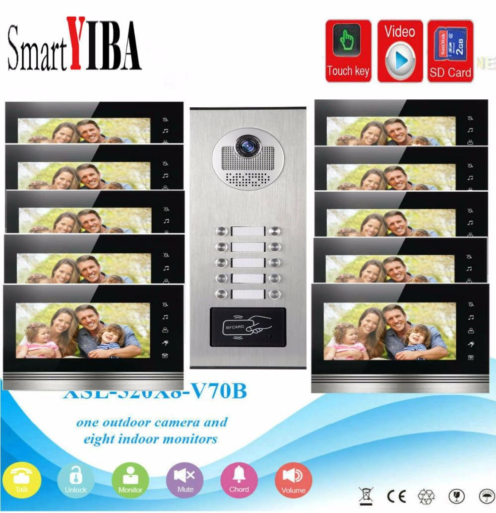 SmartYIBA 7Inch Monitor Video Intercom Door Phone KIT RFID Access Doorbell Camera With SD Card Video Recording For 10 ApartmentSmartYIBA 7Inch Monitor Video Intercom Door Phone KIT RFID Access Doorbell Camera With SD Card Video Recording For 10 Apartment