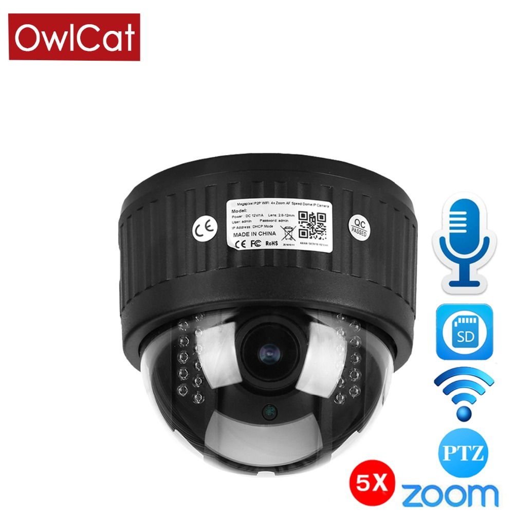 OwlCat 1080P Security Indoor Wirelesse Dome PTZ IP Camera CCTV 5X Zoom 2.7 13.5mm WiFi Audio Microphone SD Card IR Night Onvif