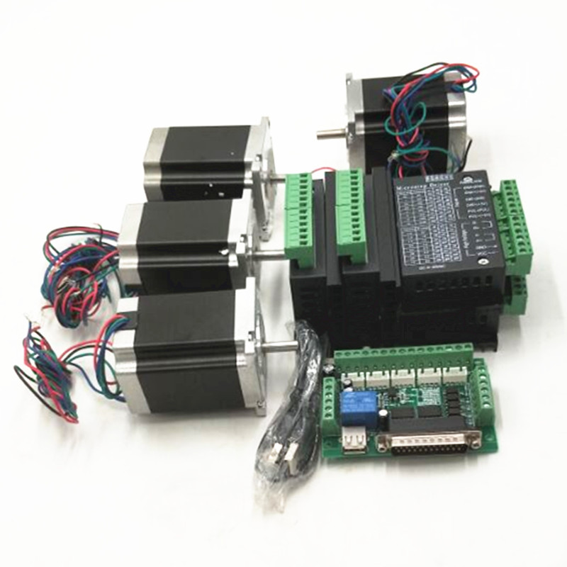 CNC Router Kit 4Axis, 4 pcs TB6600 4A stepper motor driver +4 Nema23 motor57HS5630A4+ 5 axis interface board+ power supply dc60v 350w 5 9a switching power supply 115v 230v to stepper motor diy cnc router