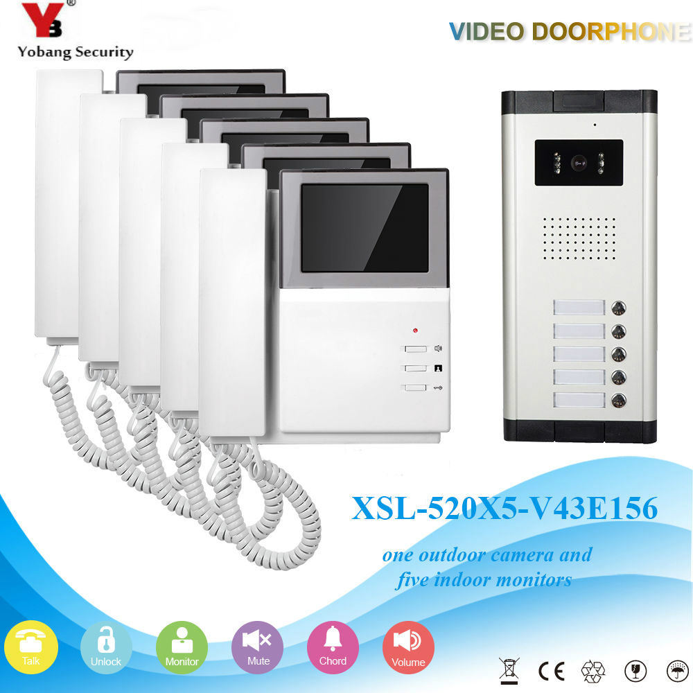 Yobang Security Video Intercom 4.3 Inch Video Door Phone Doorbell Camera System 1 Camera 5 Monitor For 5 Unites Apartment