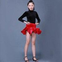Kids Latin Dance Dress Ruffle Dance Skirt For Girls Children Patterns Unequal Practice Ballroom Tango Salsa Dancing Skirt