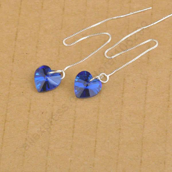 Österreichischen Kristall Herz 925 Sterling Silber Gewinde Box Ketten Ohrringe Schmuck Deisgn DIY Mode