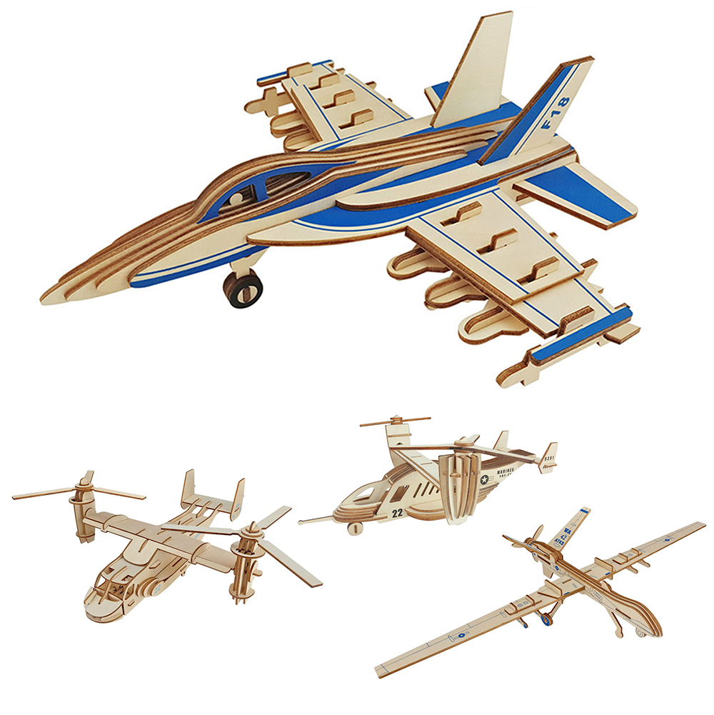 Nice 3d Aircraft Puzzle Jigsaw Wooden Toys Woodcraft Plane Helicopter Model Puzzles Educative Games For Children Educational Toy Great Varieties Puzzles & Games Toys & Hobbies