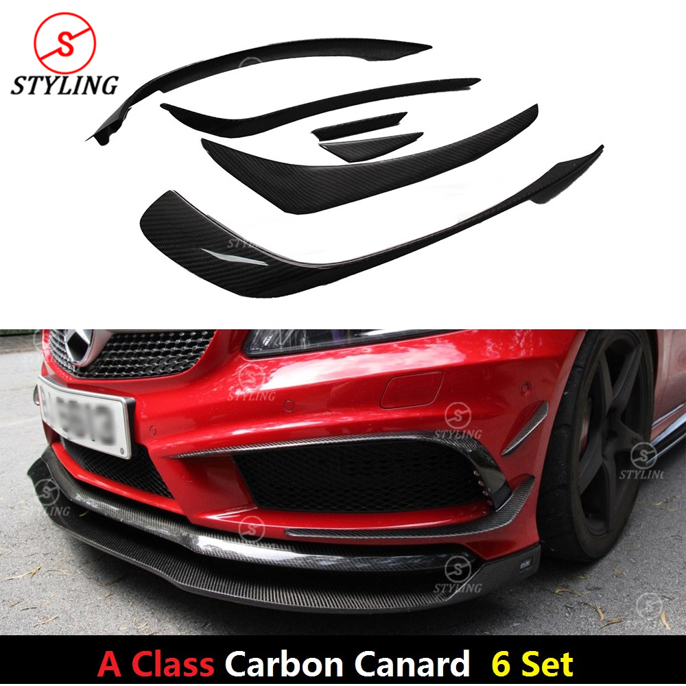 6 Pie/Set For Mercedes A Class W176 A45 AMG Carbon Fiber Front Bumper Canard Front lip Splitter Add On Style 2012 2013 2014 2015 mercedes w176 carbon fiber rear bumper canards for benz a class a45 amg package 2012 rear air dam trimming