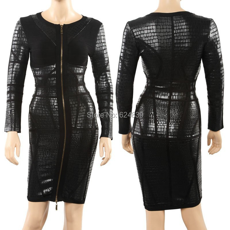 Black front zipper long sleeves leather HL Celebrity prom bandage dress new party  dresses 2014 In stock factory runway 3ca956fddd03