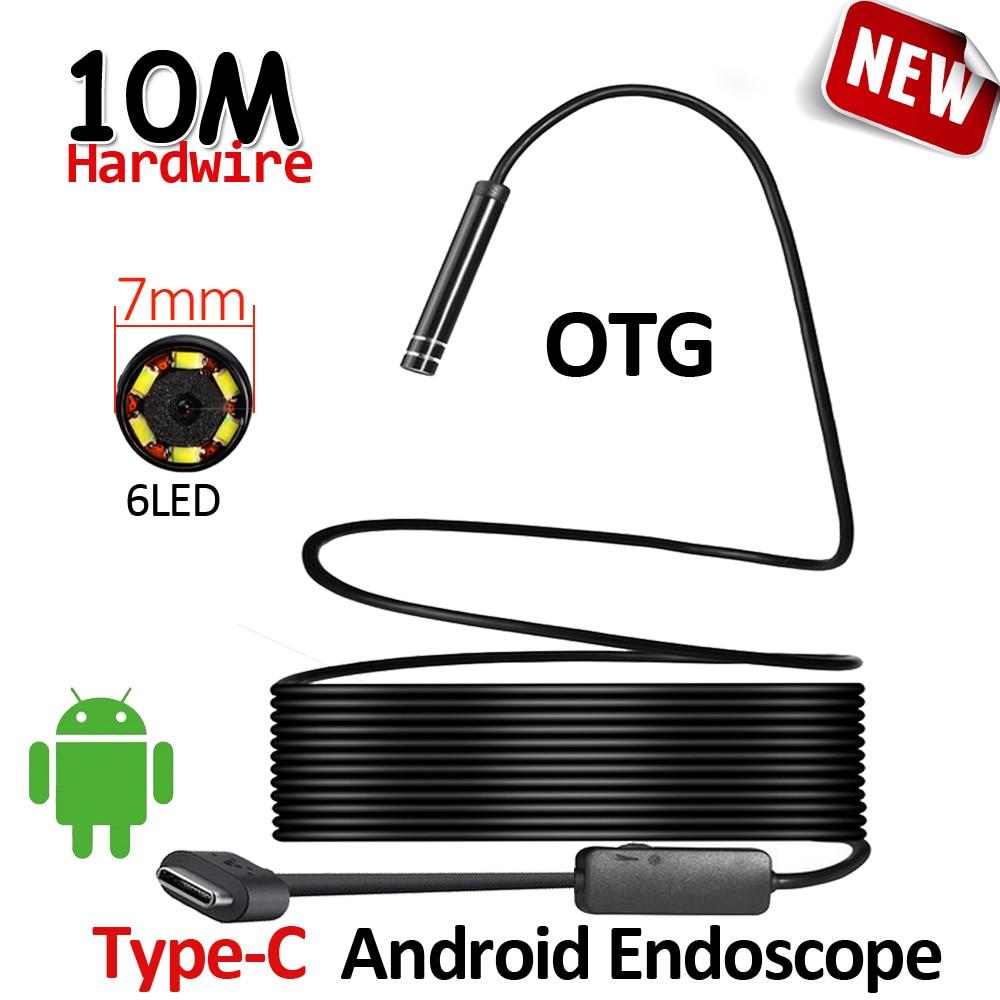 7mm Len Android USB Type-C Endoscope Caméra 10 M Câble Flexible Serpent USB Type C Dur Fil étanche Caméra D'inspection Endoscope