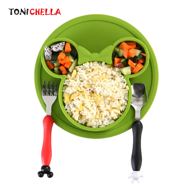 3 Pcs Baby Food Storage Silicone Tableware Solid Cute Dishes Kid Plate Bowl Eco-friendly Children Training Dinnerware BB5116