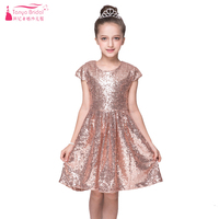 Rose Gold Sequined Dress For Flower Girls Wear Wedding Dresses Jewel Cheap In Stock Kids Pagent