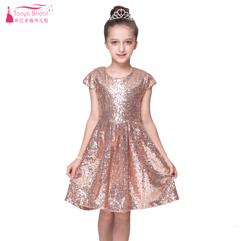 Rose Gold Sequined Dress For Flower S Wear Wedding Dresses Jewel In Stock Kids Pagent Gowns Children Day Zf050