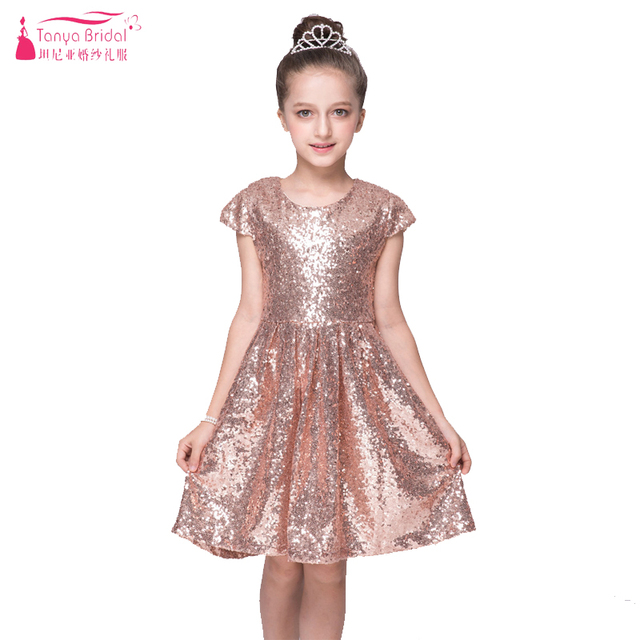 Rose Gold Sequined Dress For Flower Girls Wear Wedding Dresses Jewel