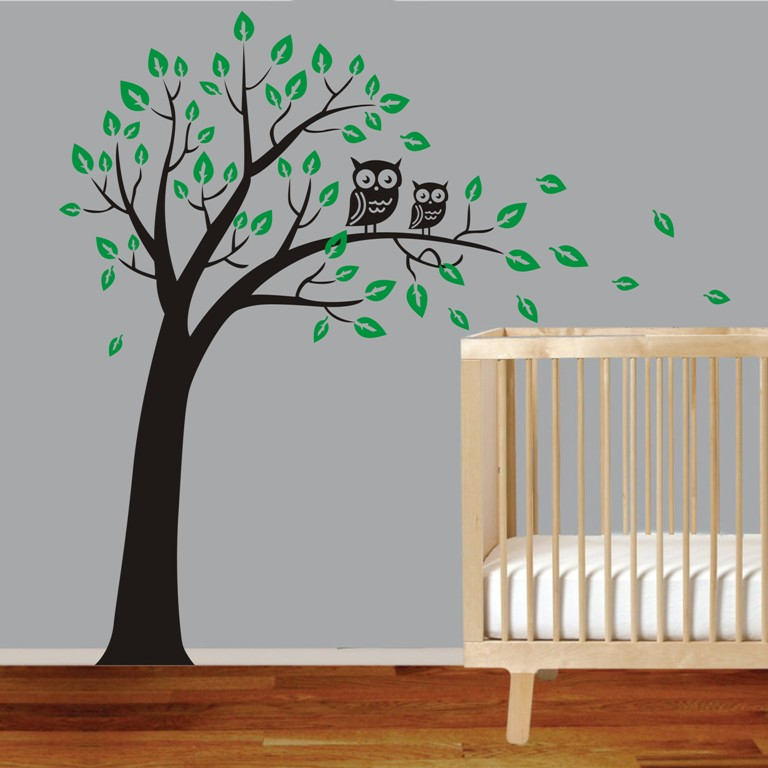 Large Owl Tree Wall Art Sticker Removable Decor Kids Nursery Vinyl ...