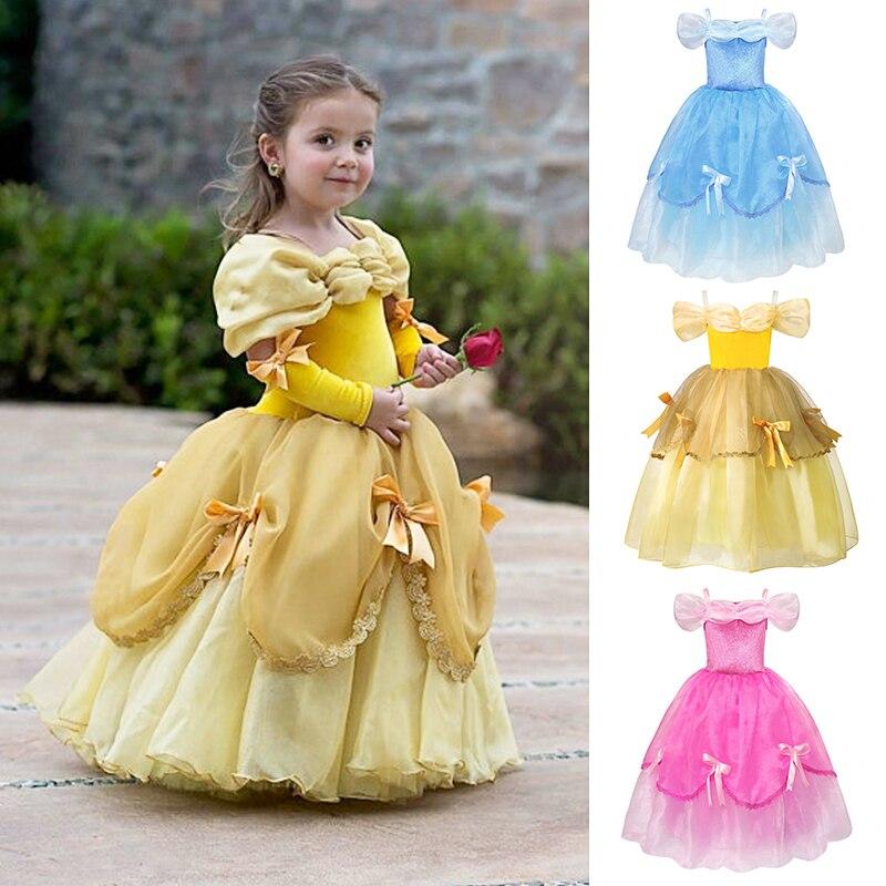 08951ed011abd YOFEEL filles princesse Belle robe Costume Cosplay Aurora cendrillon Bella  Belle et la bête la Belle au bois dormant robes fantaisie