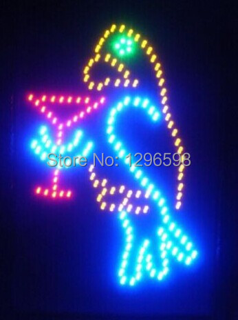 2017 direct selling manufacture led sign Indoor 19x19 Inch Ultra Bright flashing parrot bar Shop signage