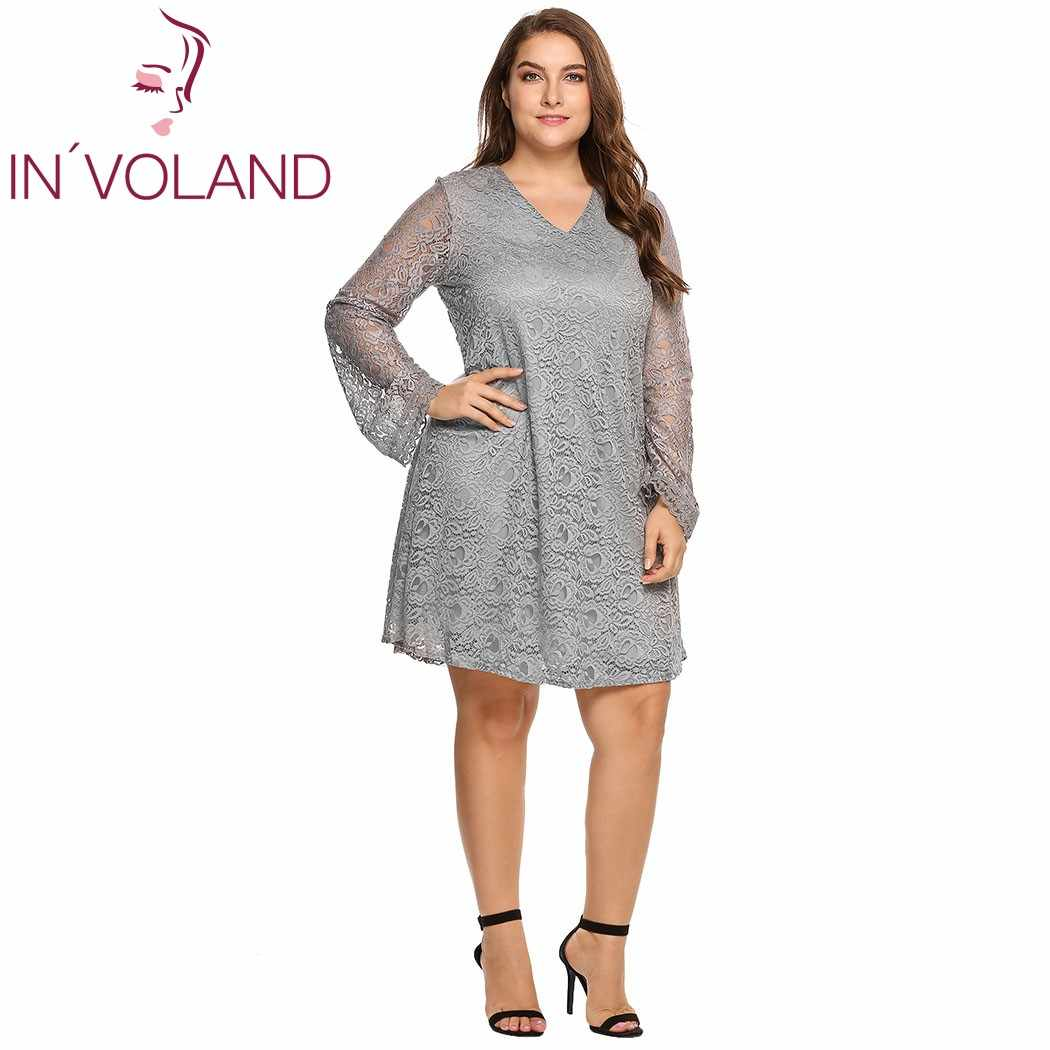 IN VOLAND Women Lace Dress Oversized V-Neck Flare Long Sleeve See-through df8d4ebf638e