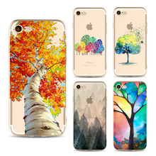 2016 New Colorful Tree Painting Case Cover For iPhone 5 5s SE 6 6s 6Plus 6s Plus 7 7Plus Soft Clear Ultrathin Phone Bag Coque