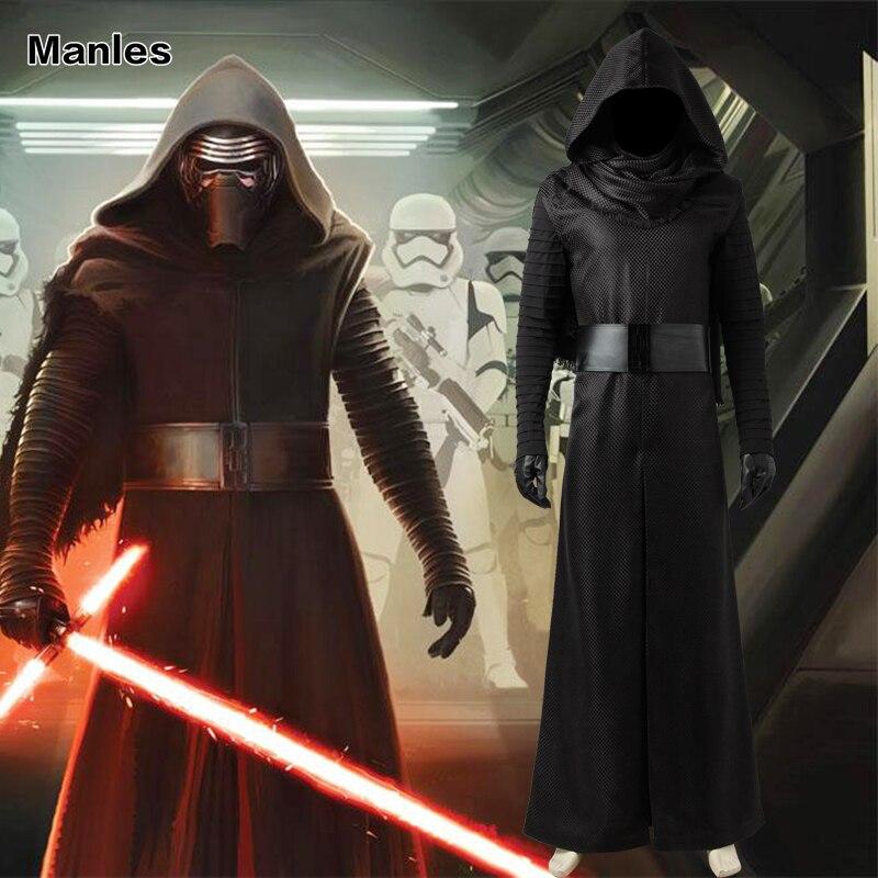 Star Wars The Force Awakens Kylo Ren Cosplay Costume Black Cloak Jedi Knight Kylo Ren Robe