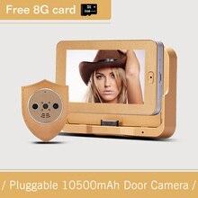 4.3 pulgadas de Alta Definición 10500 mAh LargeCapacity Smart Wireless Peephole de la Puerta de La Cámara Para La Seguridad Casera de La Cámara de Vigilancia