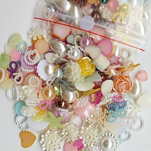 50/200pcs Random 4-20mm Half Round Pearls Seastar Bow Rose Rhinestone Flat Back Pearls Bead Loose Beads Gem(China)