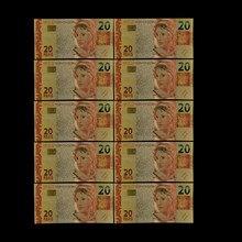 10 pçs/lote boutique brasil notas de ouro 20 reyals colorido folha de ouro bill nota moda artesanato metal falso papel coleção dinheiro