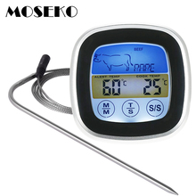 Digital Meat Thermometer Oven Colorful Touchscreen Instant Read Probe Kitchen BBQ Cooking with Timer Alert Function