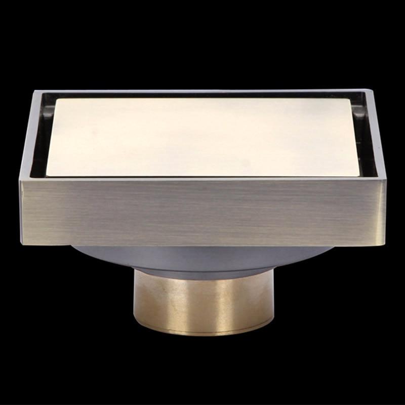 Salle de bain Drain de sol en laiton massif rétro évier carrelage Insert 100mm douche drain déchets 10*10cm douche plancher drain Bathroon AWX0002 - 5