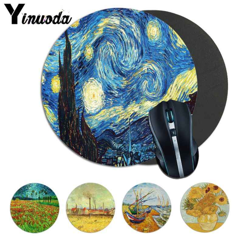 Yinuoda High Quality Vincent van Gogh painting art Mouse Durable Desktop Mousepad anime Pattern Soft Accessories gamer mouse pad