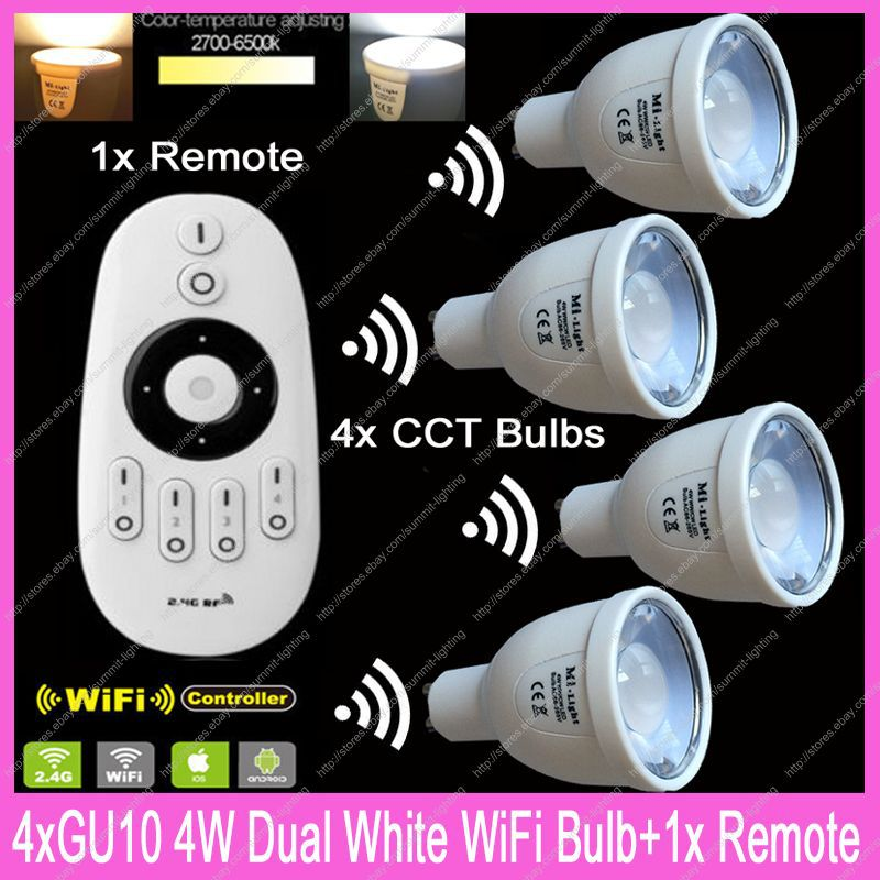4x GU10 Mi.Light 5W Color Temperature Adjustable Dual White CW/WW CCT WiiFi Compatible LED Bulb AC85-265V+1x2.4G Wireless Remote ac110v 240v dx62 wall mount 2 4g rf wireless led sync cct color temperature controller dmx512 signal ouput for dual white strip