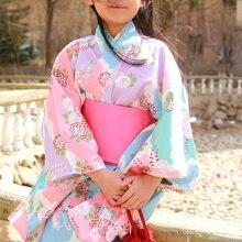 2019 new children girls japanese traditional costumes kimono dress with obi bathing robe yukata for kids girls dance wear