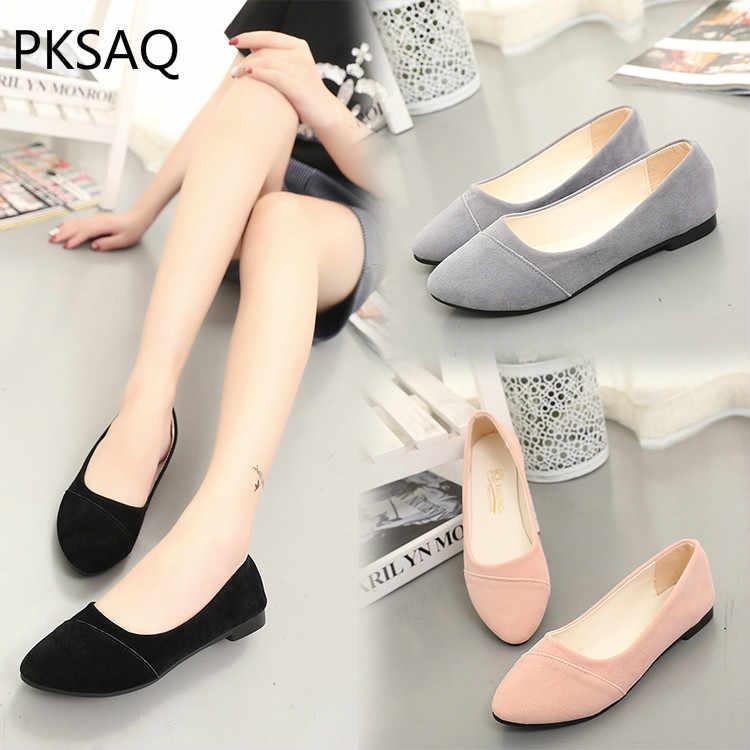 Primavera otoño nuevas mujeres zapatos planos bajo superior trabajo Casual zapatos puntiagudos moda estudiante zapatillas dulces mocasines zapatos