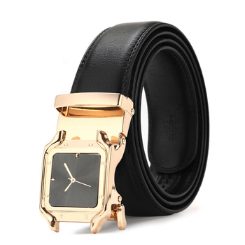 Men's leather belt automatic buckle young students middle aged business belt luxury quality designer belts men image