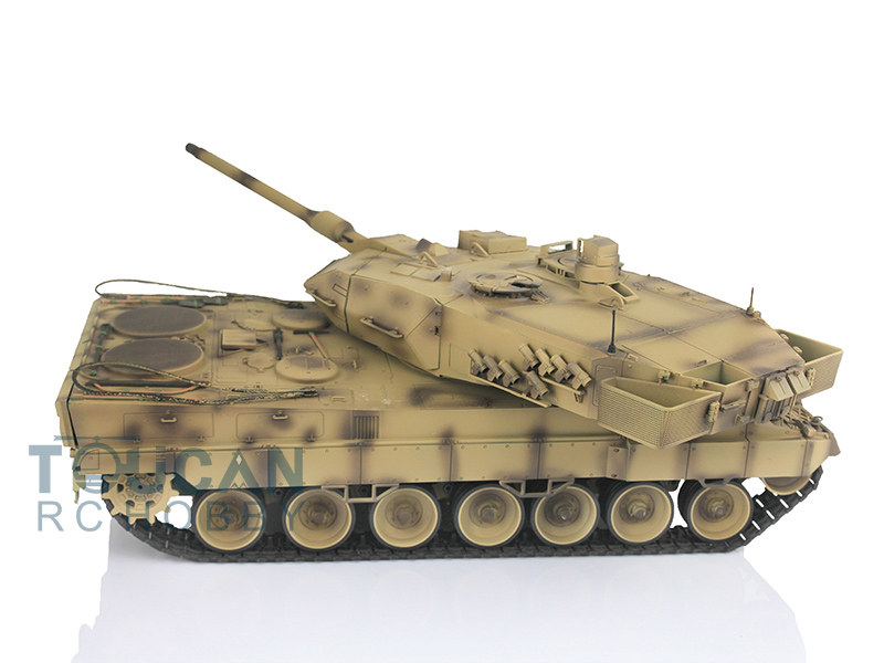 1/16 Scale Henglong Desert Yellow German Leopard2A6 RC RTR Tank Metal Tracks 360 Degrees ...