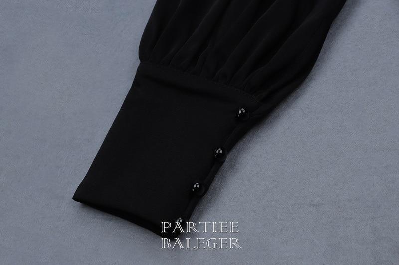 Épaule Noir Noire Longue V 2019 Longues Nouvelle En Manches À Party Maxi Club Ruffles Élégante Sexy Celebrity Bandage Robe Arrivée Une Col w0I04Sx1