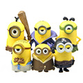 6pcs Despicable me evil purple minions toys doll plastic set  2016 New plastic minions Kelvin birthday party supply decoration