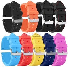 Pelle 18mm 20mm 22mm 24mm Soft Silicone Watchband Band Replacement 9 Color Silver Buckle