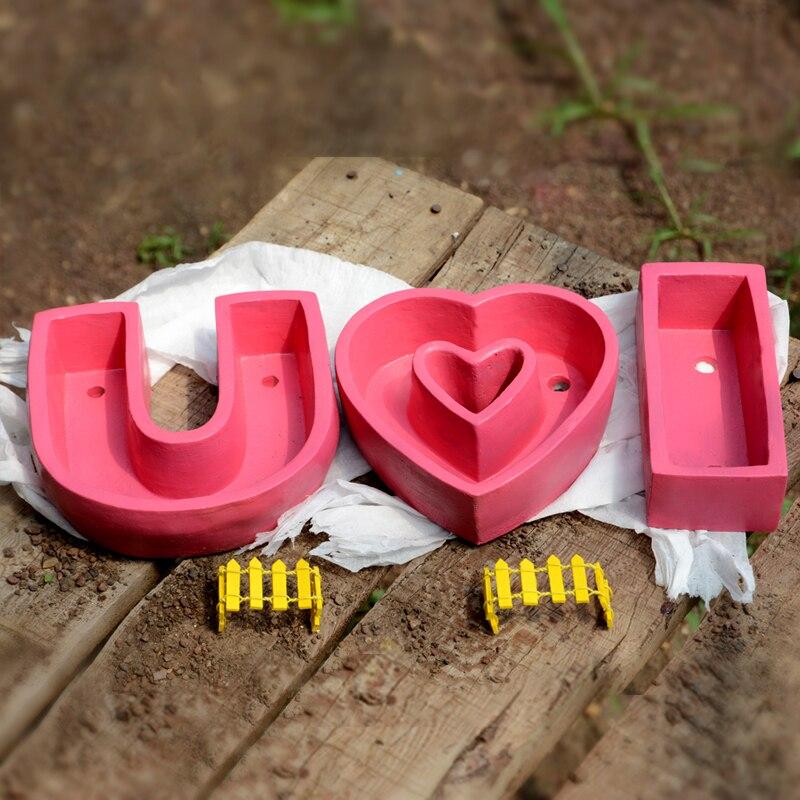 Silicone moules I Love You anglais lettre muti-viande pots de fleurs moule béton moule ciment vase moule maison artisanat décoration