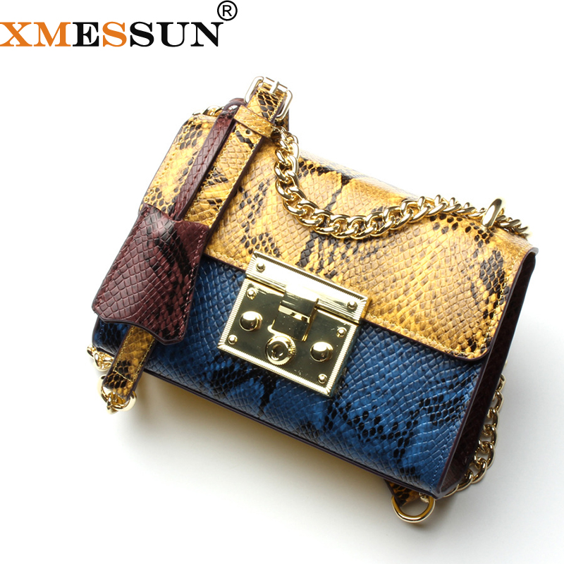 XMESSUN Brand High Quality Gold Lock Bag Snake Skin Leather Chain Small Designer Handbags Ladies Satchels