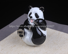 Big Panda Trinket Gift Box Panda Bear Handmade Jeweled Metal Panda Hinged Treasure Holding Box Lovely Panda Trinket Jewelry Box