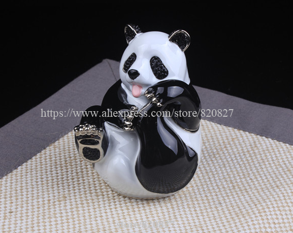 Big Panda Trinket Gift Box Panda Bear Handmade Jeweled Metal Panda Hinged Treasure Holding Box Lovely Panda Trinket Jewelry Box