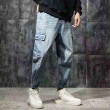 wholesale 2019 multi pocket Overalls denim mens casual pants loose jeans spring summer harem hombre wild beam