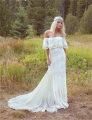 2016 Spring Bohemian Beach Wedding Dresses Plus Size Lace Off  Shoulder Elegant  Country Chiffon Bridal Gowns Train boho Dress