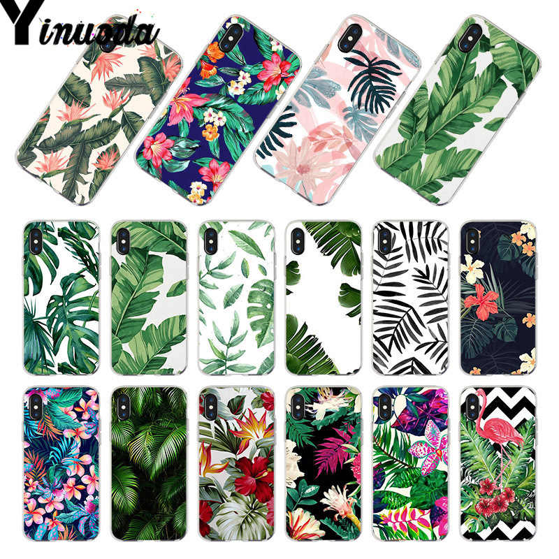 Yinuoda For iphone 7 6 X Case Tropical plant Banana Tree leaves Flower Coque Phone Case for iPhone 8 6S Plus X 5 5S SE 5C 4S