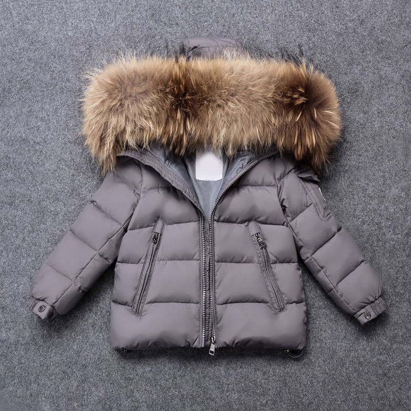 Kid Girl Boy Winter Jacket Clothing Warm Down Big Real Fur Coat Kids Clothes Winter Hooded Jackets for Boy Girl Outerwear 2017 new design girl boy thick jackets real fur hooded long coat kids big girl for cold russia winter clothing dress overcoat