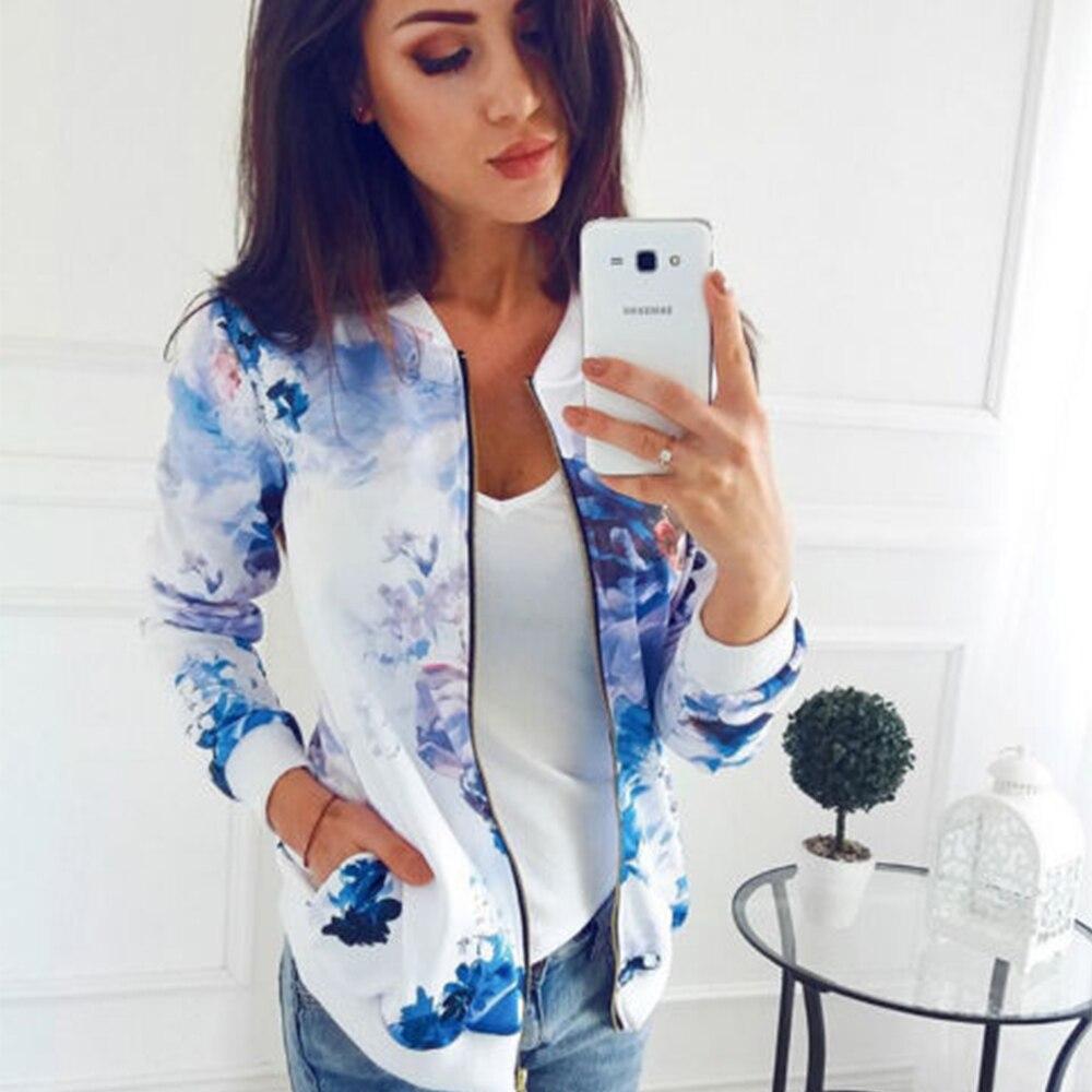 Женское пальто с цветочным принтом в стиле ретро, повседневная куртка на молнии с длинным рукавом, Женская Базовая куртка-бомбер на весну и ...