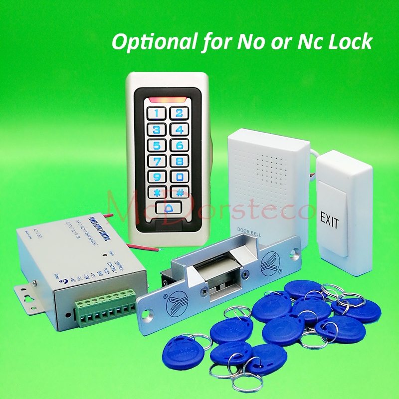 Metal IP68 Waterproof Full 125khz Rfid Door Lock control system Kit Yli NO NC Electric Strike Lock +Power supply+exit button orient es00001w