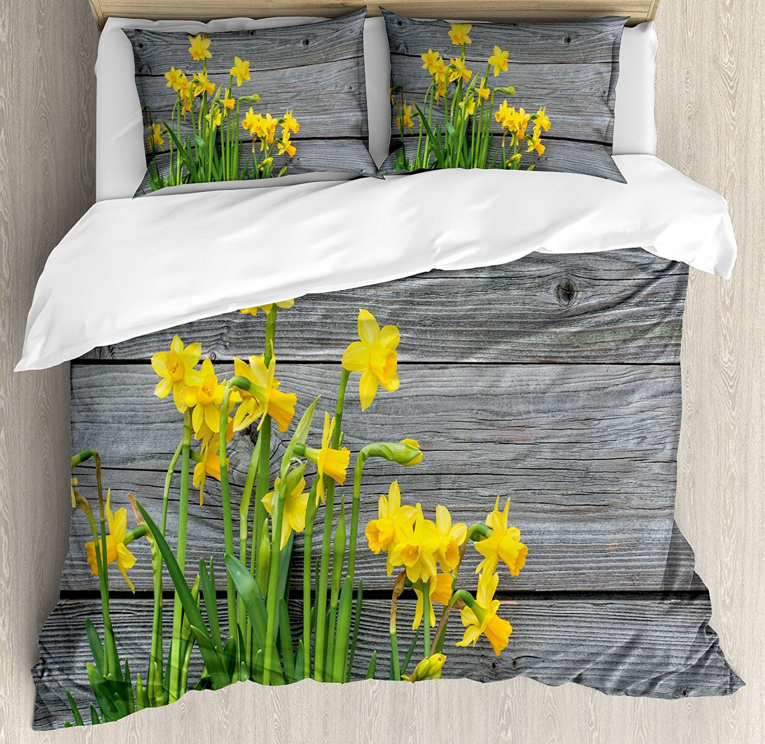 Yellow Flower Duvet Cover Set Bouquet of Daffodils on Wood Planks Gardening Rustic Country Life Theme Bedding Set Yellow GreyYellow Flower Duvet Cover Set Bouquet of Daffodils on Wood Planks Gardening Rustic Country Life Theme Bedding Set Yellow Grey